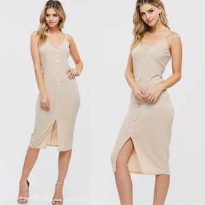 REESE Button Detail Midi Dress - TAUPE